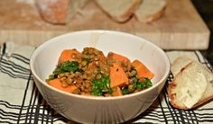 Savoury lentil stew with sweet potatoes and spinach. Vegan Recipes Easy, Whole Food Recipes, Vegetarian Recipes, Cooking Recipes, Vegan Comfort Food, Vegan Food, Dairy Free Soup, Stewed Potatoes, Lentil Stew