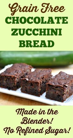 Grain Free Chocolate Zucchini Bread - Made in the Blender! Paleo, no refined sugar. Made with coconut flour!