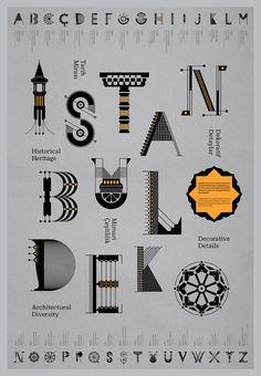 Istanbul Deko, a decorative alphabet by Turkish designer Geray Gencer inspired by the architectural details of Istanbul.