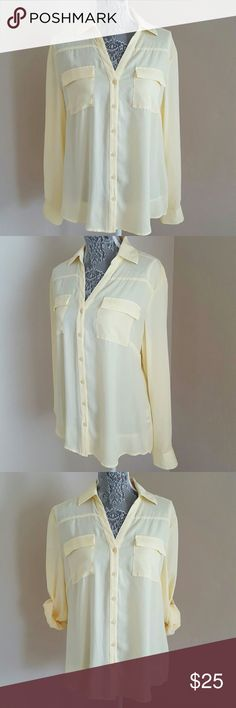 Roll Tab Button Up Blouse Summer yellow, semi-sheer, button up blouse with convertible sleeves and chest pockets. Pre-loved and in excellent condition. 100% polyester, machine washable. New York & Company Tops Button Down Shirts