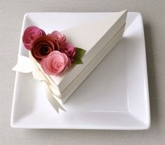 paper cake box + rolled paper flowers