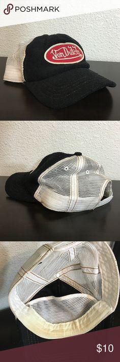 Von Dutch Terry Cloth Adjustable Snap Back Hat Von Dutch black terry cloth hat with mesh back. Adjustable snap back. Gently worn, make up on the inside as shown.  Black with red patch. Von Dutch Accessories Hats