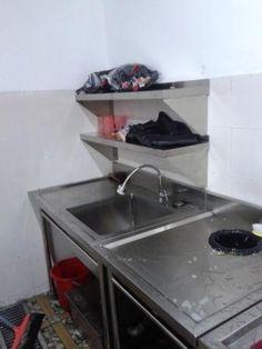 Sink Peralatan Stainless Dapur Komersial Instalasi Gas Pembuangan Asap Restoran Exhaust Hood