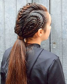 Fishtail mohawk with cornrows into a deep ponytail