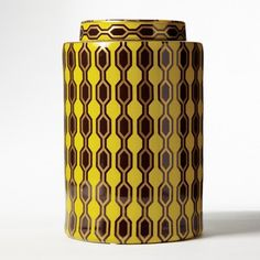 Yellow and Gold Jar by Kelly Hoppen design by Twos Company | BURKE DECOR  From burkedecor.com