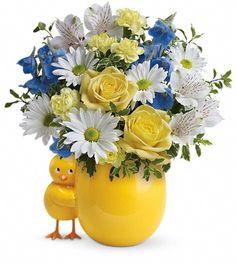 Baby Boy Flower Arrangements | teleflora s sweet peep bouquet baby blue tnb04 1a $ 37 95