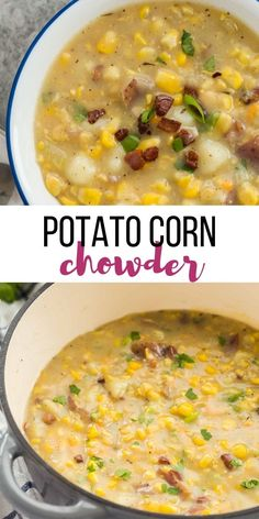 Potato Corn Chowder - The Recipe Rebel - with crockpot instructions This Potato Corn Chowder is a thick, hearty, creamy soup, perfect for cooler days! It's made with smoky bacon, creamy potatoes and sweet corn. Corn Soup Recipes, Healthy Soup Recipes, Crockpot Recipes, Vegetarian Recipes, Cooking Recipes, Corn Crockpot, Healthy Potato Soup, Sweet Corn Recipes, Creamy Soup Recipes