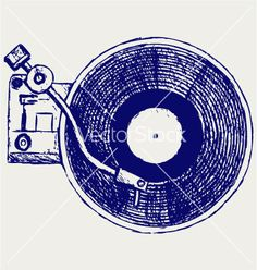 Record player vinyl record vector
