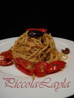 Spaghetti con pesto alle olive e limone