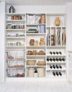 Kitchen pantry shelving.