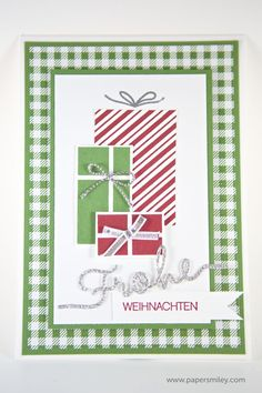 Weihnachtskarte mit dem Stempelset Your Presents von Stampin Up! - Christmas card with the set Your Presents.