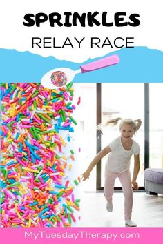 Sprinkles Relay Race Game for Ice Cream Party or Donut Party. Things to do with kids indoors. Activity ideas for kids. Toddler Birthday Party Games, Donut Birthday Parties, Donut Party, Kids Party Games, Fun Games, Kids Relay Races, Relay Games For Kids, Indoor Birthday, Kindergarten