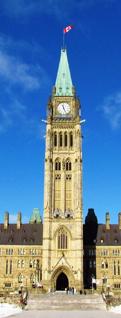 Peace Tower (officially the Tower of Victory and Peace) Ottawa Canada. Part of the Parliament buildings (The Centre Block) Ottawa Canada, Ottawa Ontario, Canada Eh, Canada Ontario, Largest Countries, Cool Countries, Countries Of The World, Voyage Canada, Capital Of Canada