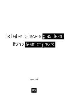 Leadership Quote: It's better to have a GREAT TEAM than a team of greats.