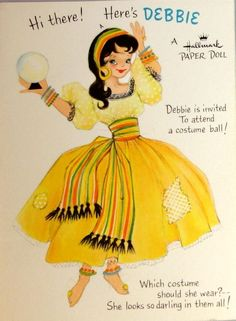 Hallmark Paper Doll Greeting Card - Debbie Goes to a Costume Party 1958