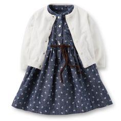 Chambray Henley Dress  Cardigan Set | Carter's