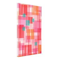 Abstract squares red orange teal geometric canvas prints