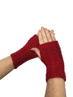 Red Fingerless Gloves Knit Hand Warmers Texting by ArlenesBoutique