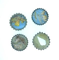 Designer bottle cap charms made with native Florida plants.