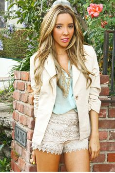 HAUTE & REBELLIOUS tan blazer, lace shorts and teal blouse