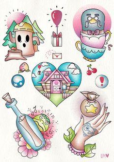 ArtStation - Animal Crossing Tattoo Flash, Lucy Mutimer