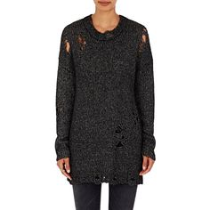 R13 Women's Distressed Popover Sweater ($645) ❤ liked on Polyvore featuring tops, sweaters, black, crewneck sweaters, destroyed sweater, crew sweater, stitch sweater and distressed sweater