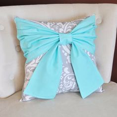 Throw Pillow Bright Aqua Bow on a Gray and White Damask Pillow 14x14 -Tiffany…