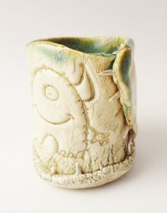 Toothy Monster cup - A most unusual sake cup, with real fossil teeth fired into the clay! White stoneware clay, folded and then real fossil shark