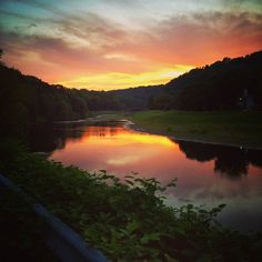 A sunset above the Rondout Creek in Rosendale, NY #HudsonValley #Rosendale