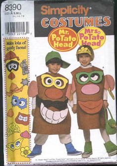 Potato Head and Mrs. Sizes Chest 22 - 27 in Waist - in Hip 24 - 28 in Pattern is uncut and factory folded. Toy Story Halloween Costume, Teacher Halloween Costumes, Toy Story Party, Toy Story Birthday, Costume Patterns, Sewing Patterns, Goofy Face, Potato Heads, Cartoon Movies