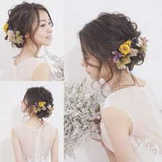 nostalgie〜ディープイエロー/クラシックパープル〜 Bridal Hair Updo, Bridal Hair Flowers, Wedding Hair And Makeup, Wedding Beauty, Wedding Hair Accessories, Party Hairstyles, Bride Hairstyles, Hair Arrange, Hair Setting