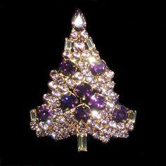 Vintage Inspired Swarovski Crystal Christmas Tree Brooch Pin, Christmas Gift, Purple Rhinestone Goldtone Tree, Xmas Tree. Etsy.