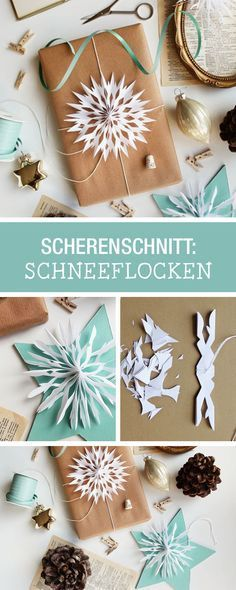 Inspiration vür Scherenschnitt: Schneeflocken schneiden als Deko für Weihnachtsgeschenke / diy paper cutting: paper snowflakes as christmas gift decoration via DaWanda.com