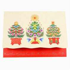 Polish Folk Christmas Card - Three Trees