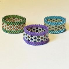 Flowering Fields Beaded Band Peyote Stitch Ring by PuebloAndCo