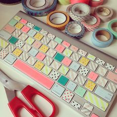 doinggggggg this ! washi tape on my imac keyboard Washi Tape Keyboard, Mt Washi Tape, Mt Tape, Keyboard Stickers, Washi Tape Crafts, Masking Tape, Washi Tapes, Creative Crafts, Fun Crafts