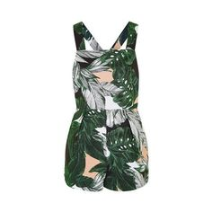 Topshop Ring Detailed Leaf Print Playsuit ($59) ❤ liked on Polyvore featuring jumpsuits, rompers, dresses, playsuite, shorts, multi, topshop rompers, green jumpsuit, topshop jumpsuit and cotton jumpsuit