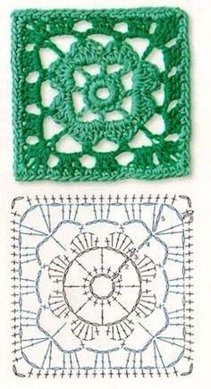 Transcendent Crochet a Solid Granny Square Ideas. Inconceivable Crochet a Solid Granny Square Ideas. Crochet Shawl Diagram, Crochet Motif Patterns, Granny Square Crochet Pattern, Crochet Chart, Crochet Squares, Crochet Granny, Crochet Stitches, Knit Crochet, Knitting Patterns