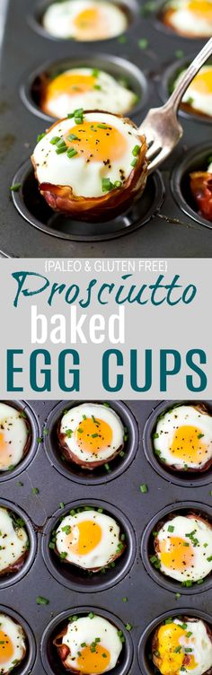 {paleo & gluten free} PROSCIUTTO BAKED EGG CUPS an easy meal prep breakfast the family will love. These grab 'n 'go baked egg cups boast a healthy 10 grams of protein per serving with only 116 calories!