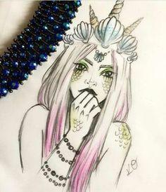 Desconhecido Mermaid Drawings, Mermaid Tattoos, Mermaid Art, Disney Drawings, Cute Drawings, Art Pictures, Art Sketches, Art Inspo, Amazing Art