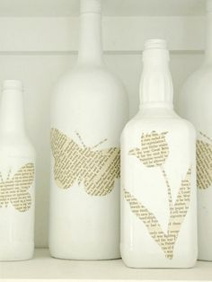 DIY Wine Bottle Decoration and Crafts - tutorial with instructions on how to make Book Page Bottles (via  The Wicker House blog)