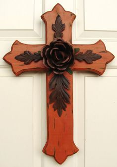 DC034 Large Orange Wood Cross with Rustic Rose and by DiaMorDecor
