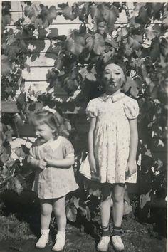 Vintage Halloween. Creepy! The kid on the left is pooping her pants!