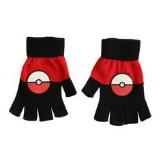 Pokemon Poke Ball Fingerless Gloves Hot Topic ($15) ❤ liked on Polyvore featuring accessories, gloves, ball gloves, pom pom gloves and fingerless gloves