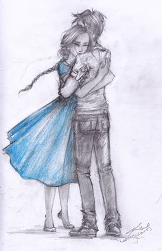❤Finally, Gale is here, and maybe there is nothing romantic between us, but when he opens his arms I don´t hesitate to fall into them. (the hunger games, p. 47) Gale and Katnip (Katniss)  by cherryclaires.deviantart.com on @deviantART