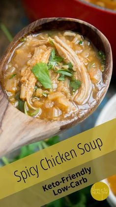 This Low-Carb Spicy Chicken Soup recipe boasts Indian takeout inspired flavors. If you love chicken tikka masala, you're going to love this soup. Keto-friendly. #ketosoup #lowcarb #ketodinner #cauliflowerrice Low Carb Chicken Noodle Soup, Spicy Chicken Noodles, Low Carb Noodles, Chicken Soup Recipes, Low Carb Soup Recipes, High Protein Recipes, Keto Recipes, Indian Takeout, Keto Soup