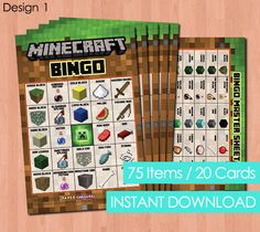 Minecraft Bingo Game Minecraft Party Game by PaperCarousel on Etsy, $5.25