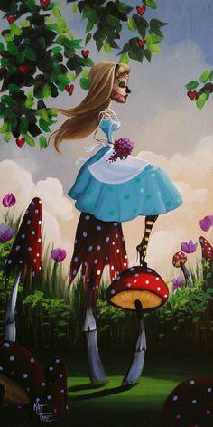 Day Of the Dead Alice In Wonderland Mushrooms Original Art Dia de los Muertos Award Winning Artist Kat Tatz Acrylic on Wood Panel Flowers by KatTatz on Etsy https://www.etsy.com/listing/223197396/day-of-the-dead-alice-in-wonderland