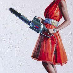 Kelly Reemtsen, divide sua produção entre pinturas e trabalhos com pastel, representando as coloridas donas-de-casa do sonho americano, com ferramentas poderosas nas mãos.   Ela pode ser uma mãe que ajuda no serviço pesado de casa, ou mesmo uma esposa elegantemente enlouquecida... by http://www.ideafixa.com/mulheres-a-beira-de-um-ataque-de-nervos/