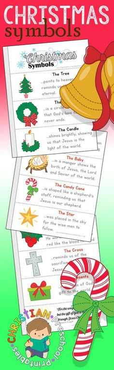 Symbols of Christmas Printables. Christian Meaning behind Christmas Symbols including bells, holly, presents, tree, wreath, candy cane, and more! Free